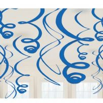 Royal Blue Plastic Swirl Decorations (12)